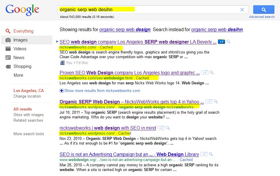Top of Google Organic SERP for NicksWebWorks screen shot