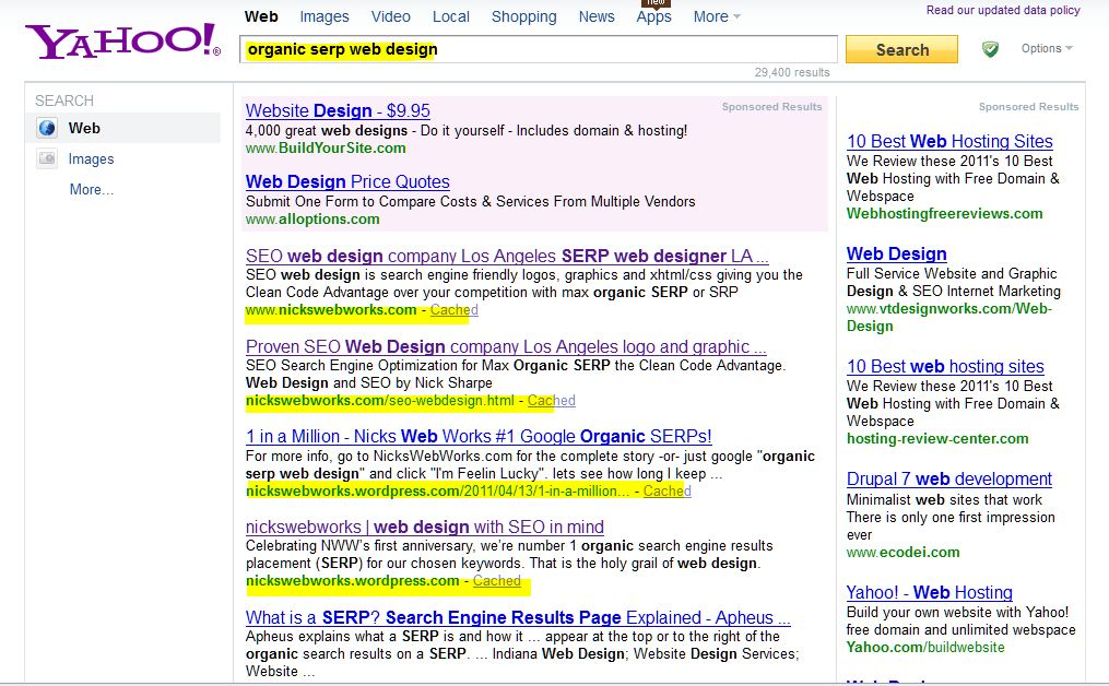 Web design with SEO in mind for top Organic SERP NicksWebWorks