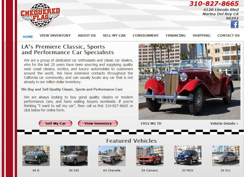 SEO redesign for Chequered Flag International classic car mega dealer web site screen shot with red MG