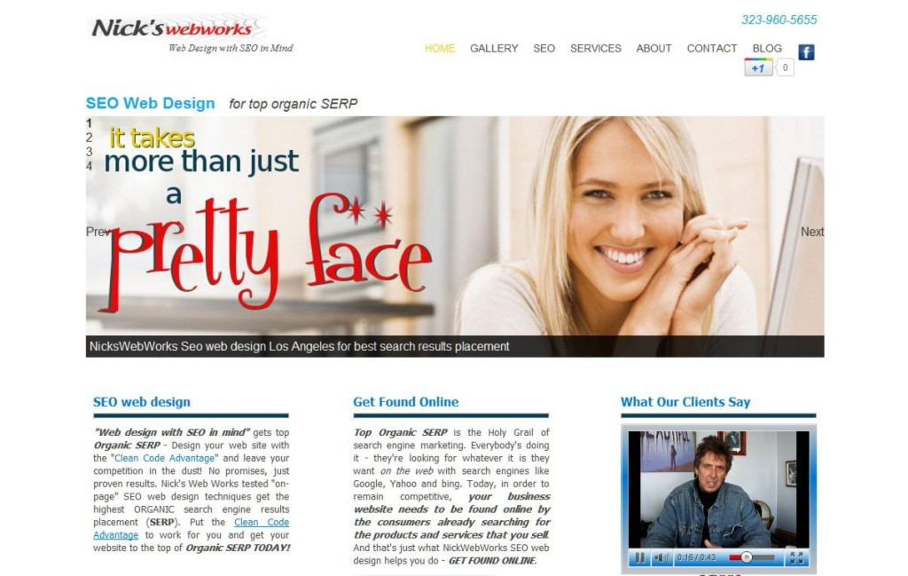 web design with seo in mind for top organic serp by nickswebworks screen