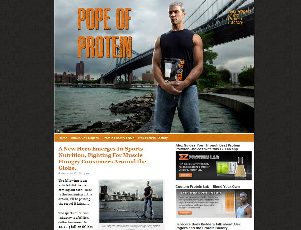 alex rogers the pope of protein at the protein factory custom WordPress blog screen shot