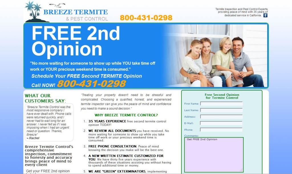 breezepest termite and pest control 2nd opinion landing page for ppc by nickswebworks.com